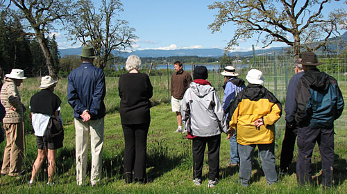 Dr. Andrew MacDougall (University of Guelph) speaking about his grazing exclosure experiment at Cowichan Garry Oak Preserve (photo by Carolyn Masson)