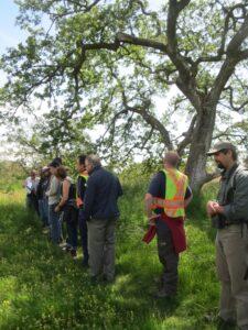 Chris Junck points out rare plant populations along a multi-use trail (photo: A. Nasadyk, GOERTS)
