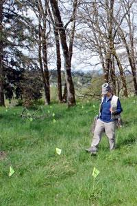 Biologist Tracy Fleming wears GPS hat