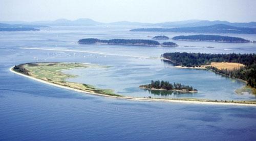Eagle Island, Gulf Islands National Park Reserve, cradled in the Hook Spit of Sidney Island