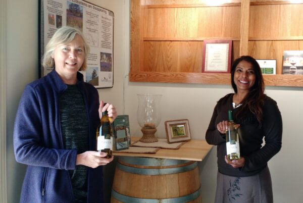 Susan Hannon (left), a GOERT board member, with Nalini Samuel (right) at the opening of the Garry Oaks Winery on Easter weekend.