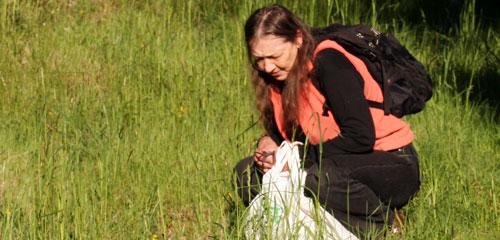 Biologist Oluna Ceska at work
