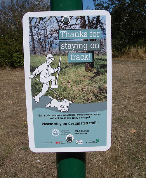 One of our signs posted at Uplands Park in Oak Bay (photo by Chris Junck)
