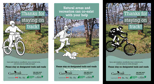 Stay on Track poster samples B, C and D. Text and characters can be changed to suit your needs.